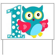 First Birthday Happy Owl Yard Sign