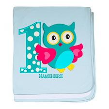 Cute First Birthday Owl baby blanket