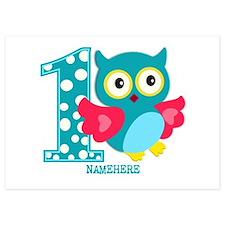 Cute First Birthday Owl Invitations