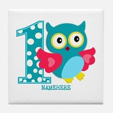 Cute First Birthday Owl Tile Coaster