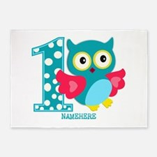 Cute First Birthday Owl 5'x7'Area Rug
