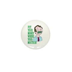Money Mouth Poker Cartoon Mini Button (10 pack)