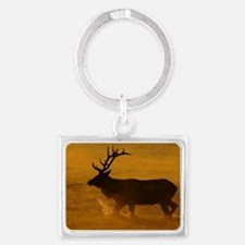 Bull Elk at Sunrise Landscape Keychain