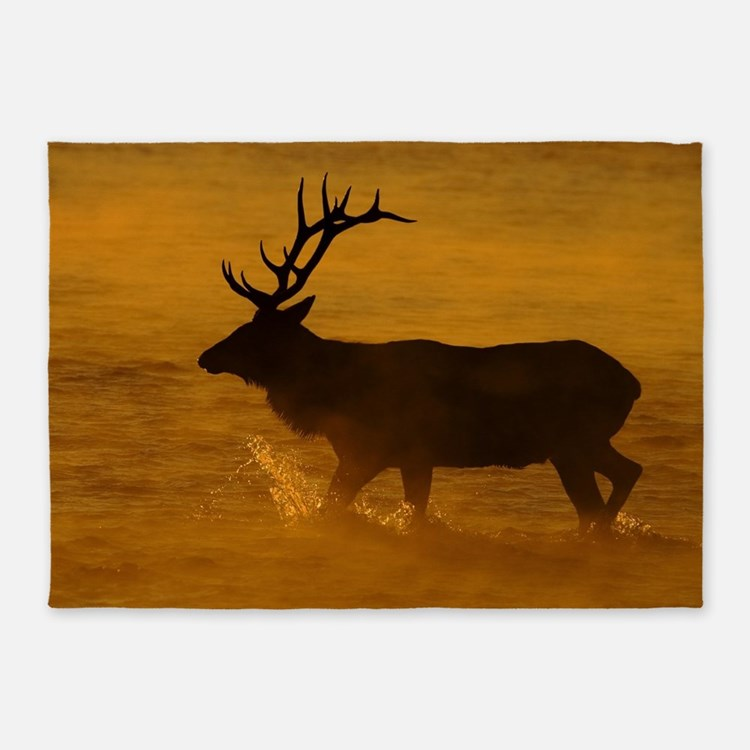 Bull Elk at Sunrise 5'x7'Area Rug