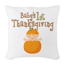 Babys 1st Thanksgiving Pumpkin Woven Throw Pillow