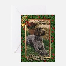 German Wirehaired Pointer Dog Christmas Greeting C