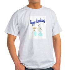 happy hanukkah snowman Ash Grey T-Shirt