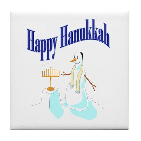 happy hanukkah snowman Tile Coaster