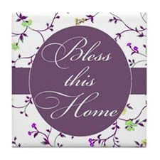 bless this home purple Tile Coaster
