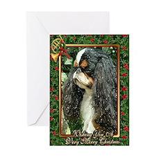 English Toy Spaniel Dog Christmas Greeting Card