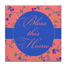 bless this home pink and blue Tile Coaster