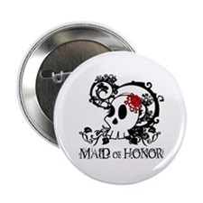 """Skull Maid of Honor 2.25"""" Button"""