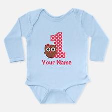 1st Birthday Owl Girl Body Suit