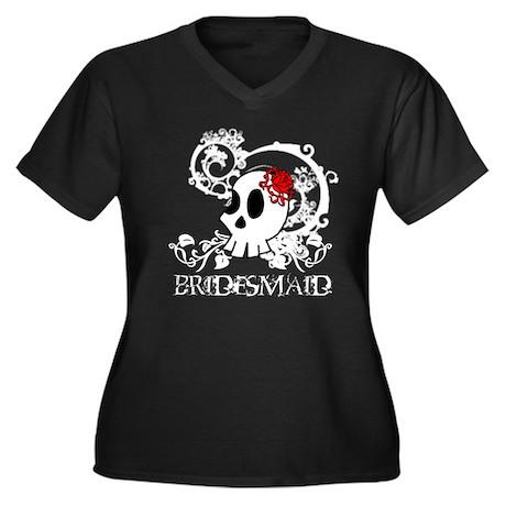 Skull Bridesmaid Women's Plus Size V-Neck Dark T-S