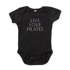 LIVE-LOVE-pilates-OPT-GRAY Baby Bodysuit