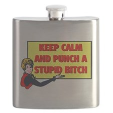 KEEP CALM AND PUNCH A STUPID BITCH Flask
