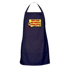 KEEP CALM AND PUNCH A STUPID BITCH Apron (dark)