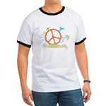 Colorful Peace Sign Ringer T