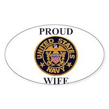 USN WIFE Oval Decal