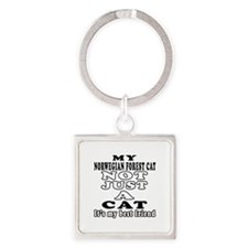 Norwegian Forest Cat Designs Square Keychain
