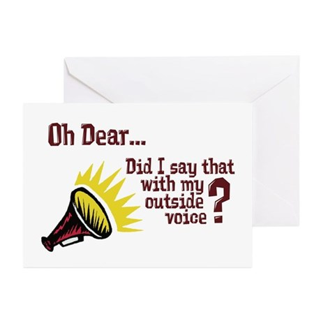 my outside voice greeting cards pk of 10 by filmmakertees