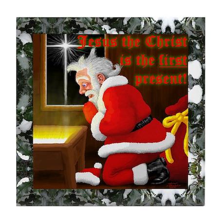 'Santa knelt' Tile Coaster