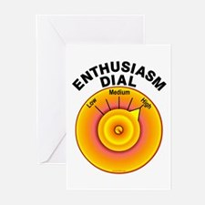 Enthusiasm Dial on High Greeting Cards (Package of