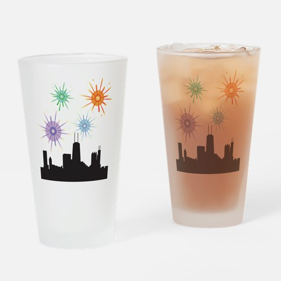 Fireworks Over Chicage Drinking Glass