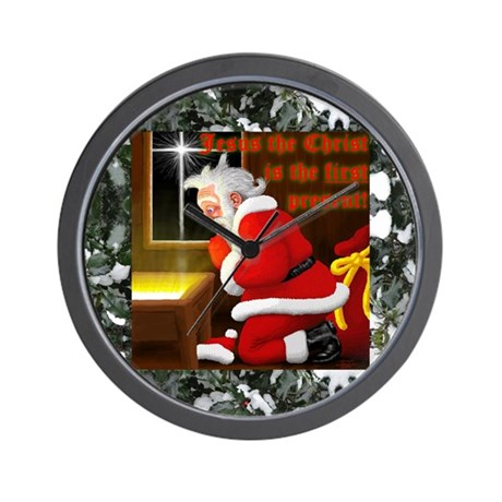'Santa knelt' Wall Clock