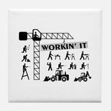 Workin It Blue Collar Workers Tile Coaster