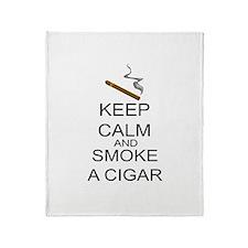 Keep Calm And Smoke A Cigar Throw Blanket