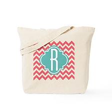 Initial R ZigZag Stripes Monogram Tote Bag