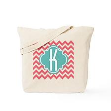 Letter K Chevron Stripes Monogram Tote Bag