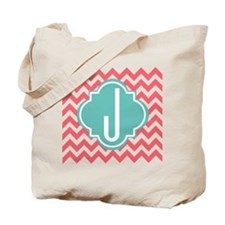 Letter J Chevron Stripes Monogram Tote Bag