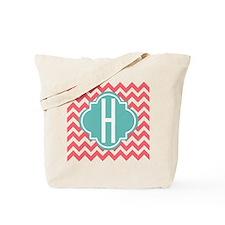 Letter H Chevron Stripes Monogram ToteBag