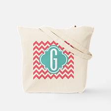 Letter G Chevron Stripes Monogram Tote Bag