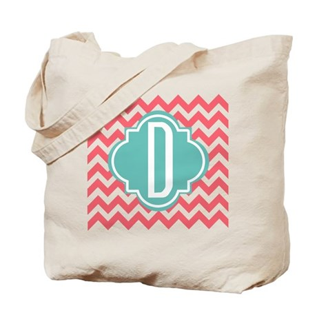 Monogram Letter D Chevron Stripes Tote Bag