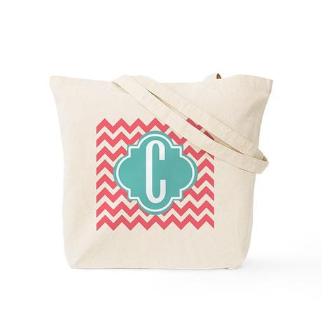 Initial C Chevron Stripes Monogram Tote Bag