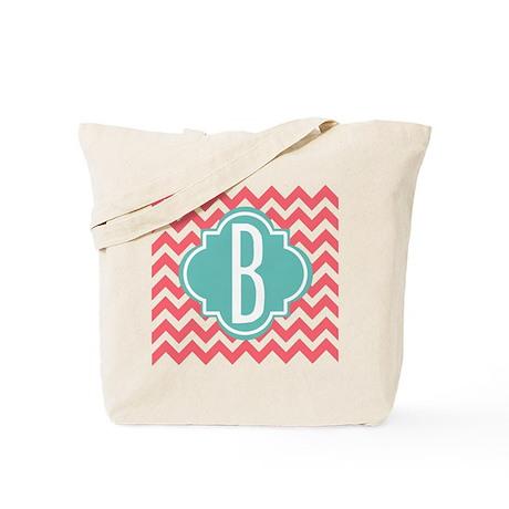 Letter B Chevron Stripes Monogram Tote Bag