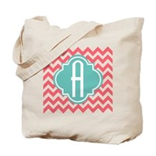 Letter A Chevron Stripes Monogram Tote Bag