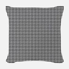 Houndstooth White Woven Throw Pillow