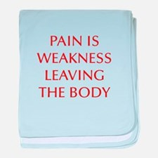 pain-is-weakness-opt-dark-red baby blanket