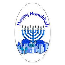 happy hanukkah Oval Decal