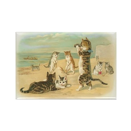 Beach Kittens Rectangle Magnet (10 pack)