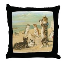 Beach Kittens Throw Pillow