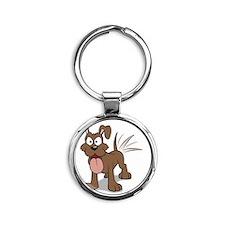 Happy Happy Dog Round Keychain