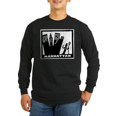 Retro Manhattan Long Sleeve Dark T-Shirt