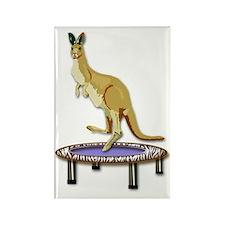 Jumping Kangaroo on Trampoline Rectangle Magnet