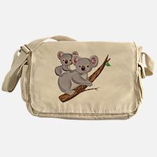 Koala and Baby on Eucalyptus Tree Br Messenger Bag