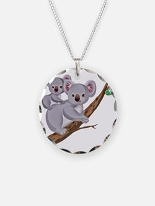 Koala and Baby on Eucalyptus Necklace